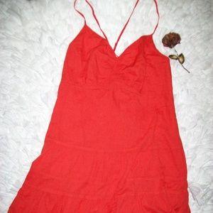 Gap Orange Tiered Spaghetti Strap Dress